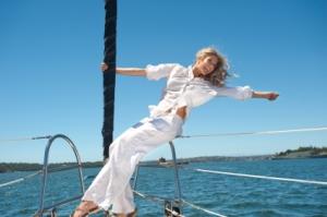 Joyful woman on boat