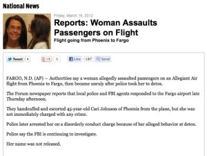 Woman assaults passenger