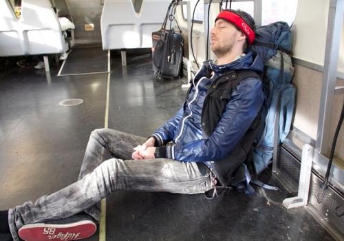 Man sleeps on boat